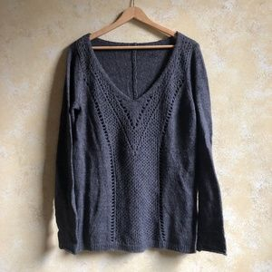 grey wool v neck sweater